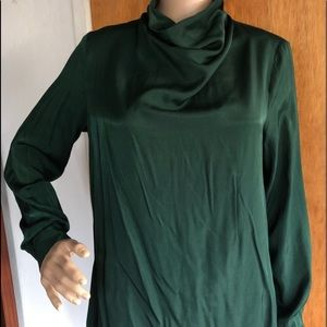 H&M forest green long sleeve blouse sz 8